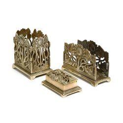 art nouveau style vintage brass desk organiser / tidy