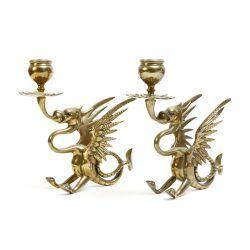 tiffany style dragon candlesticks