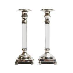 lucite column candlesticks