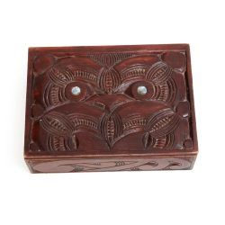 carved kauri wood box