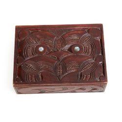 carved kauri wood box