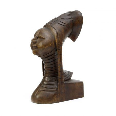 padaung woman carved wood bust