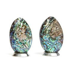 paua shell salt and pepper shakers