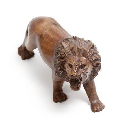 angry lion made from wood