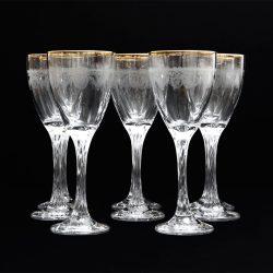 etched gold rimmed wine glasses