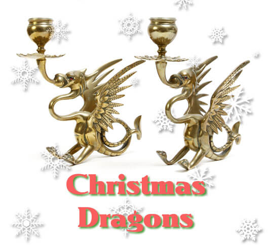 Christmas Dragon Candlesticks