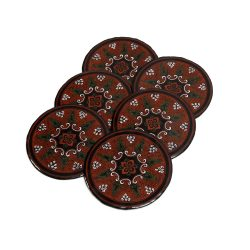 red black paper mache drinks coasters