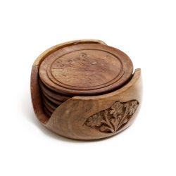 carved wood drink coasters